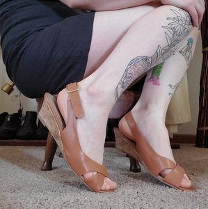 Tan Cork Heeled Slingback Sandals